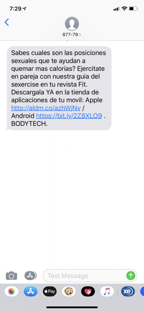 Text message about exercise for sexual positions, Medellin, Colombia
