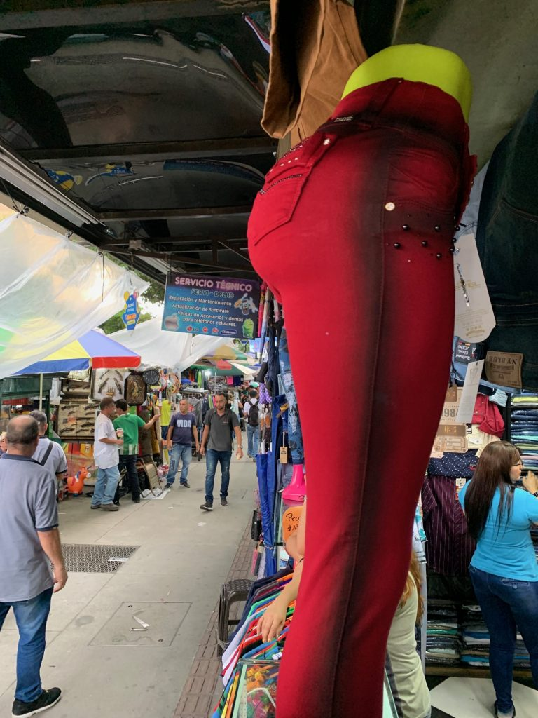 Form fitting jeans that lift the butt, Medellin, Colombia