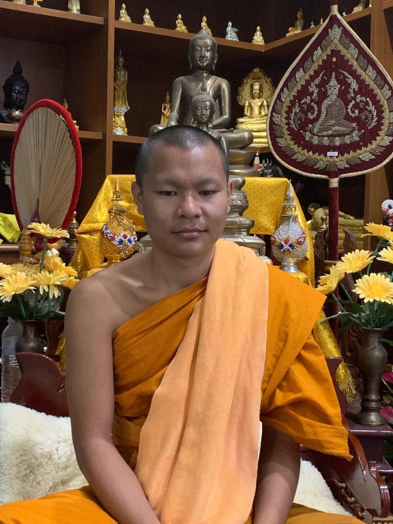 Phra Sone Indasaro, Monk Chat teacher at CMU University, before class, Chiang Mai, ©2019, Cyndie Burkhardt