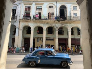Blue car, Havana, Cuba ©2019, Cyndie Burkhardt