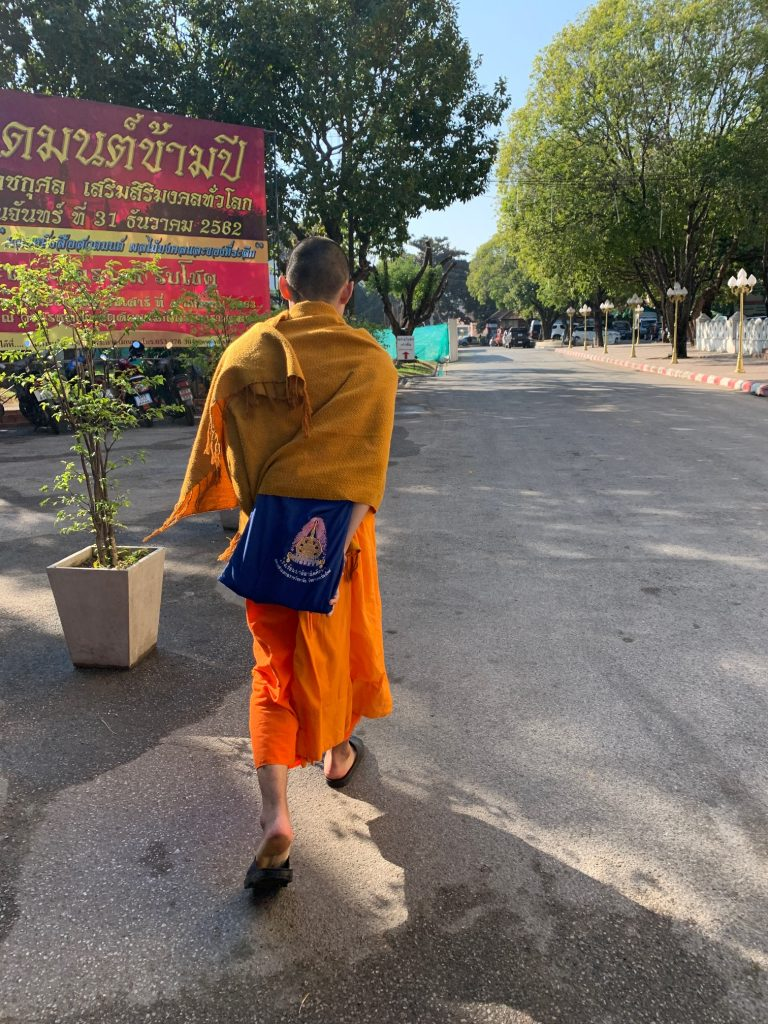 Monk at CMU University, Chiang Mai, ©2019, Cyndie Burkhardt