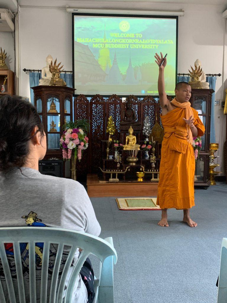 Sone teaching the fundamentals of Buddhism