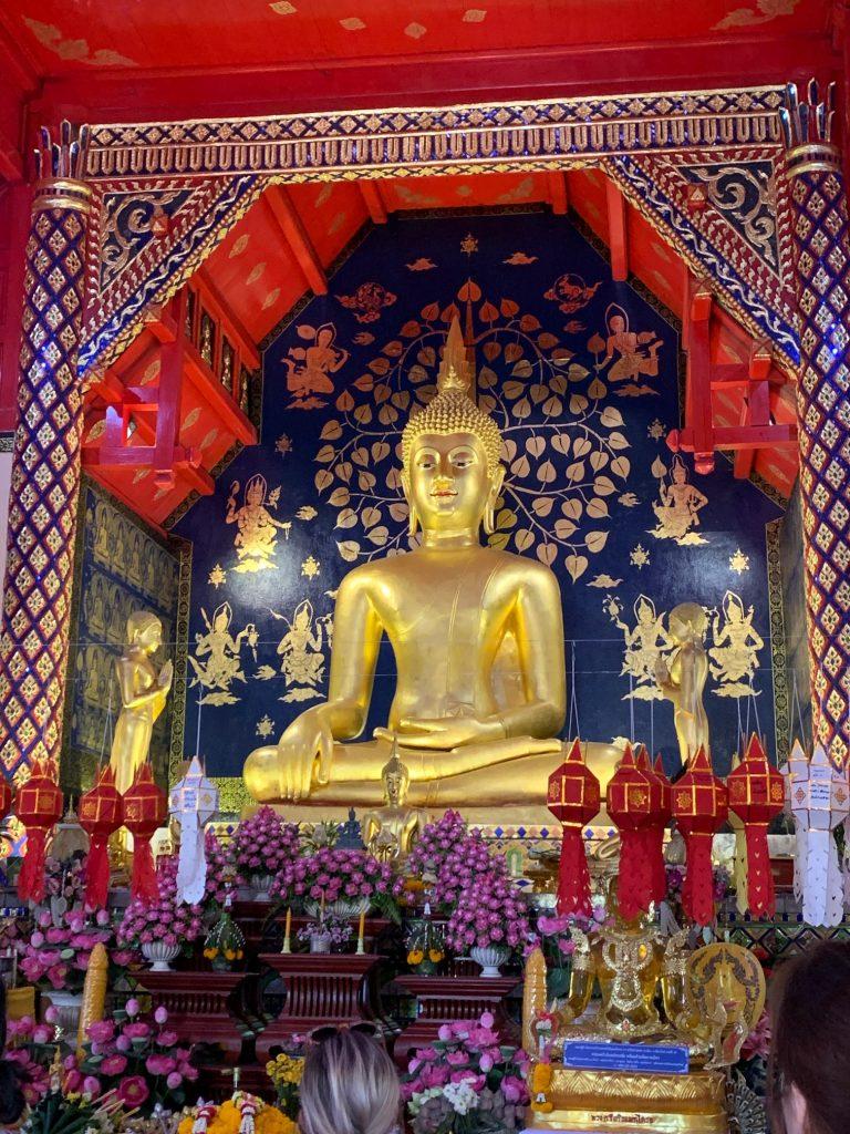 Buddha statue inside Sala Kan Prian, a temple on campus, MCU University, Chiang Mai, Thailand ©2019, Cyndie Burkhardt