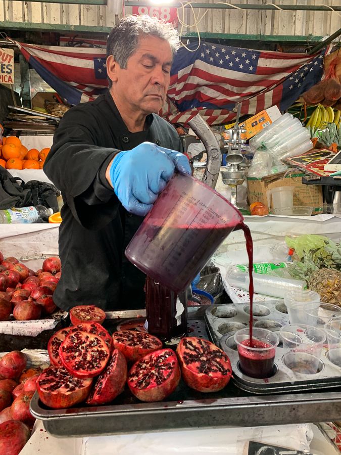 Pomegranate Juice, La Vega Central Market, Santiago, Chile ©2019, Cyndie Burkhardt.