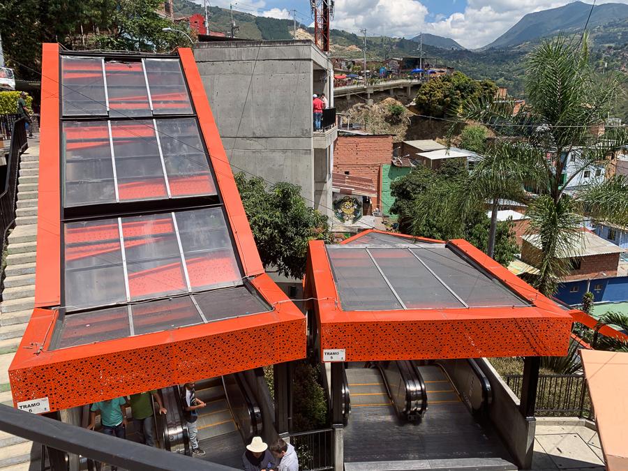 Escalators, Comuna 13, Medellín, Colombia, ©2019, Cyndie Burkhardt.