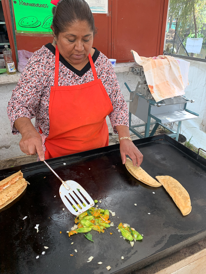 Making Quesadillas, Xochimilco, Mexico ©2019, Cyndie Burkhardt